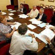 Imagen de la reunión de ayer del órgano comarcal, que estuvo presidida por Vicente Irisarri