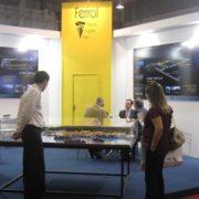 Expositor del Puerto en el evento de Sao Paulo, con la maqueta de la terminal en primer término apfsc