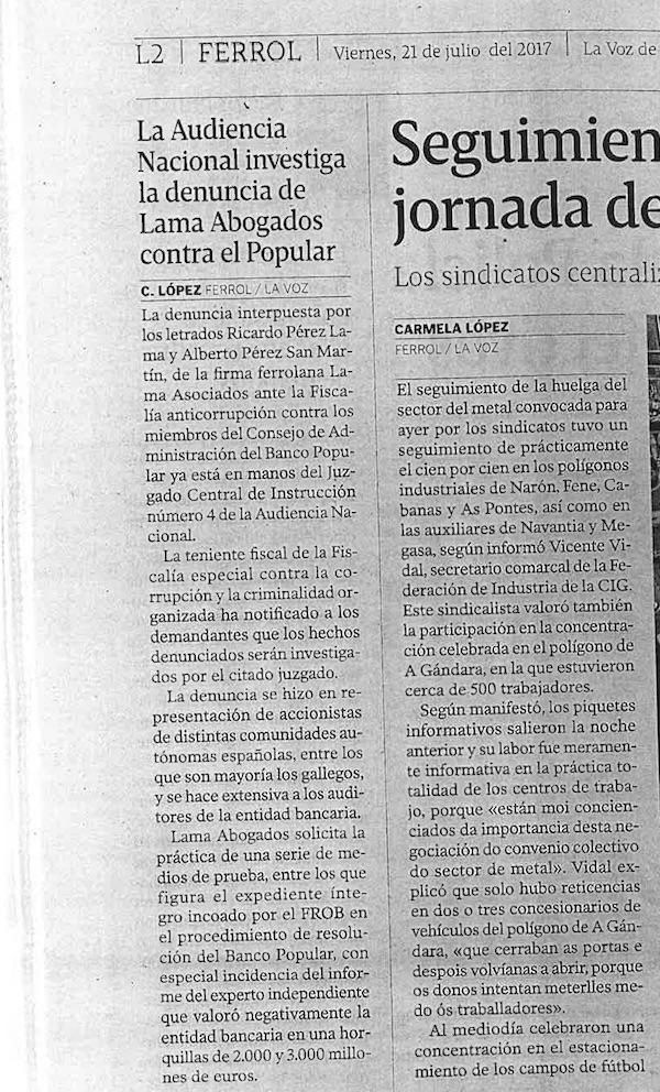 Denuncia Banco Popular - Lama Asociados - Ricardo Pérez Lama